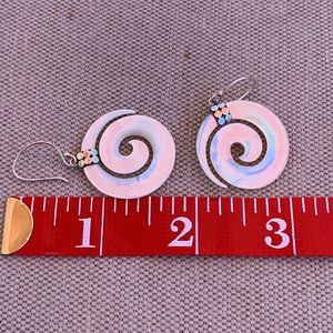 Vintage Jewelry - Vintage white spiral shell earrings